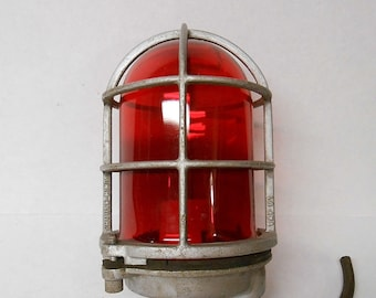 Vintage Cage Light CROUSE HINDS Cage Light Ruby RED Glass Factory Light Industrial Cage Light Fixture Ship Light Rustic Steampunk