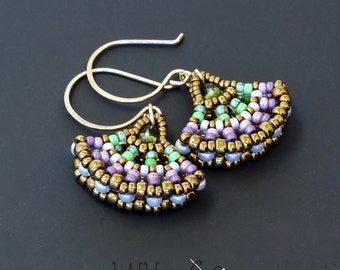 Ginkgo Leaf Beaded Earrings Lavender Green Bronze Gold Filled Wire