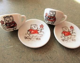 Vintage Miniature Tea Set, Bears Tea Set, Ceramic, Doll's Dishes, Doll's Tea Set, Made in Japan, Cute Kawaii Zakka, Tiny Teapot, Cup Saucer