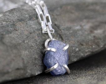 Uncut Raw Rough Denim Blue Sapphire Pendant Necklace - September Birthstone -  Sterling Silver Sapphire Pendant - Raw Blue Gemstone