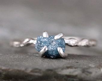 Blue Raw Diamond Ring - Twig Rings - Branch Ring - Woodland Rings - Engagement Rings - April Birthstone - Rustic Blue Gemstone Rings