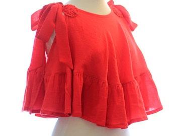 Women's Summer Top - Cotton Gauze - Beach Cover Up Shirt with Ruffles - Unique Resort Wear