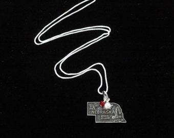 Nebraska Cornhuskers Necklace- Vintage Sterling Silver Nebraska Map Charm- Pendant with Red & White Beads- University of Nebraska Necklace