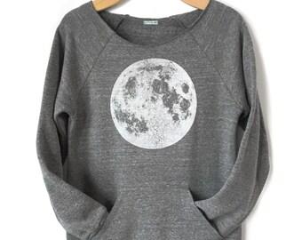 Women's Moon Sweatshirt, Full Moon Raglan, off the shoulder Moon Sweatshirt with Kangaroo pocket, Full Moon shirt, Boho Chic, Yoga Clothes