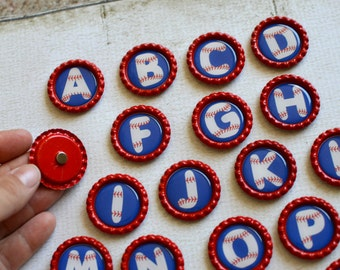 Alphabet Magnets- Baseball Alphabet Bottlecap Magnets- MADE TO ORDER- Strong Alphabet Magnets