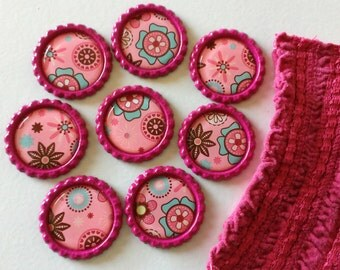Flattened Bottlecap Magnet Set with Gift Bag - Pink and Teal Flowers - Set of 8 - Created Using Up-cycled Paper - Heavy Duty Magnets