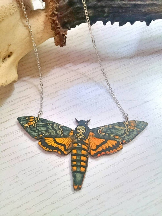 Deaths head moth necklace, Alternative bridal wear for a Rockabilly bride, Wedding gifts, Bridesmaid gift, Horror accessory, Christmas gift