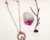 Blue Aquamarine Orbit Necklace ||  Turquoise Art Deco Glass Pendant || Hand Hammered Copper Necklace || Blue Gemstone Jewelry || Electroform