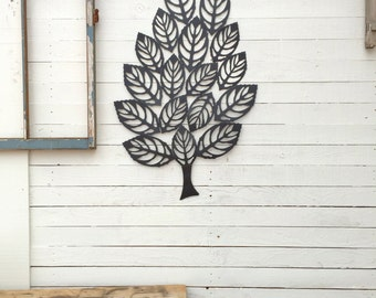 Metal Tree Wall Decor, Iron Leaf, Large Wall Decoration, Country Home, Metal Wall Decor, Hotel Decor, Wall Plaque