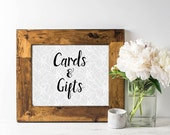 Wedding Signs - Cards & Gifts Sign - Rustic Wedding Sign - Wedding Calligraphy - Bridal Shower Sign - Gray Lace - Gift Table - Card Box Sign