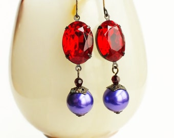 Red Purple Crystal Earrings Vintage Red Rhinestone Earrings Violet Pearl Earrings Large Red Statement Jewelry