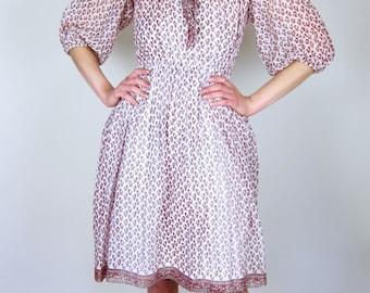 Sheer Patterned 70's Dress