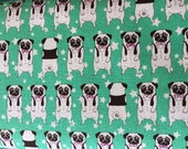 Japanese Kawaii - Green Pugs Stars - Cotton Linen - Fabric 1 Yard (PRE-ORDER)