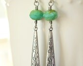 Green and silver earrings, Long dangly aqua earrings, Turquoise and silver earrings, Long dangly turquoise earrings, Bohemian style, Boho