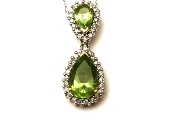 Peridot Diamond Pendant, 14K Gold Necklace Pendant, Two Tone Yellow & White Gold Pendant, Peridot Gemstone Pendant Gold and Diamond Necklace