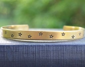 Star Cuff Bracelet  - Fall Jewelry - Autumn - Red Brass - Celestial Jewelry - Earthy - Gold - Rustic - Nature - Under 25