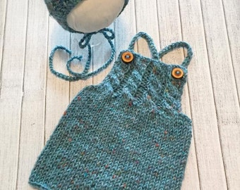 Newborn Cable Bib Romper & Matching Bonnet ~~ 2 Piece Knit Cable Shorties Set in Warm Teal Natural Peruvian Tweed Wool Fiber