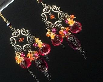 Oxidized Sterling Silver Gemstone Chandelier Earrings Mexican Fire Opal Chandelier Earring Fuchsia filigree Mixed Metal Chandelier Earrings