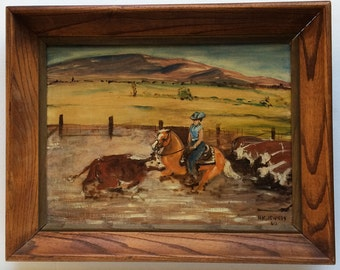 Vintage Western Cowgirl Oil Painting 1960, A. K. Jewkes, Framed Horseback
