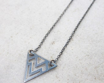 Chevron necklace, dainty silver necklace, triangle charm necklace, oxidized silver necklace, small necklace,  geometric layering necklace