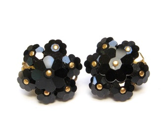 VINTAGE Swarovski EARRINGS Black GLASS Flowers Floral Cluster Layered Clipon Clip on Dress Clips Old Jewelry Mourning French Jet