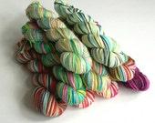 Hand dyed mini skeins. 9 x 20g Alice in Wonderland silver sparkle sock yarn sets. Variegated yarn. Superwash merino/nylon/stellina. Knitting