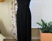 1950s Black Beaded Elegant Gown - Medium-Large