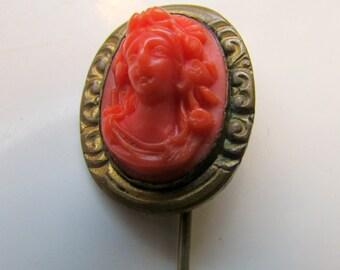 Edwardian Stick Pin Jabot Pin Brooch Faux Coral Hat Pin Stick Pin Vintage Gold Filled
