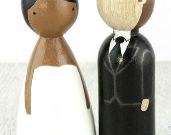 Wood Peg Doll Interracial Wedding Cake Topper - African American Bride & Caucasian Groom - 704414