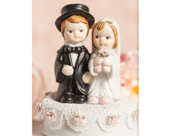 Vintage Applique Cute Child Wedding Cake Topper - Custom Painted Hair Color Available - 100426