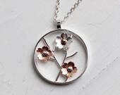 Cherry Blossom Pendant, Wedding Jewelry,Handmade sterling silver pendant, Hapa Girls original cherry blossoms, gifts for her, Bridal jewelry