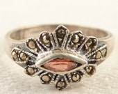 Size 6.5 Vintage Sterling Thin Marquise Garnet and Marcasite Ring