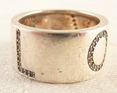 Vintage Size 7 Sterling 'LOVE' Band Ring with Cubic Zirconia Letters