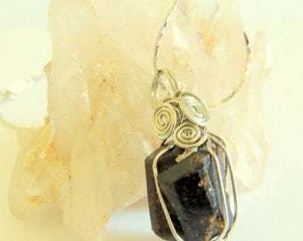 Dravite Pendant, Double Terminated Raw Dravite, Brown Tourmaline Pendant, Silver Wire Wrap, Handcrafted Jewelry, Gemstone Necklace