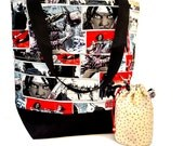 Studio Tote Extra Large Knitting Project Crochet WIP Tote Bag -  Walking Dead Michonne