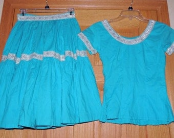 1950s Turquoise with Silver trim SouthWestern 2pc set