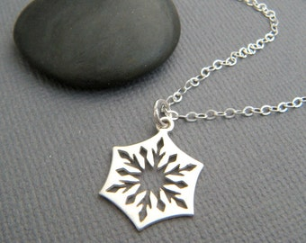 """small silver snowflake necklace. sterling silver cut out snow flake charm delicate petite simple everyday jewelry dainty winter pendant 5/8"""""""