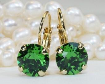 Green Crystal Earrings Green Drop Earrings Green Gold Earrings Deep Green earrings Ivy Green 8mm Single Stone Swarovski,Gold,Fern Green,GE2