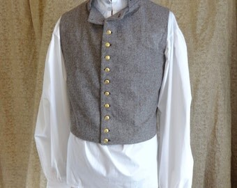 "Readymade Regency Waistcoat, Turned Down Lapel, Brown&Cream Wool Flannel, 44"" Chest"