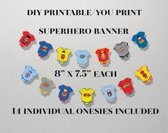 Superhero Baby, Superhero Baby Shower, Superhero Banner, INSTANT DOWNLOAD, Superhero Onesie Banner,Superhero Party Banner,Superhero Stickers