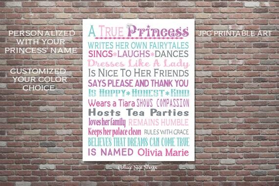 Girls Princess Sign,Personalized Princess Wall Art,Personalized Girls Princess Decor,DIGITAL DOWNLOAD Art,Princess Birthday,Princess Nursery