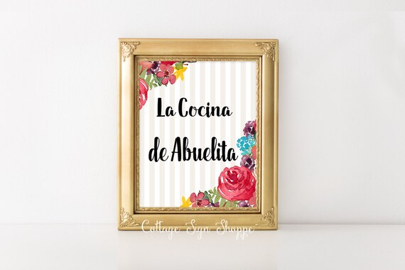La Cocina de Abuelita, La Cocina Wall Art, Spanish Grandmothers Kitchen, Mothers Day Gift Ideas, INSTANT DOWNLOAD, Abuela's  Cocina