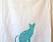 Kitty Tea Towel, Cat Tea Towel, screen printed white cotton kitchen towel