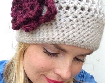 Women's Crochet Hat with flower, crochet beanie, winter hat, crochet hat with flower, taupe hat (custom colors)