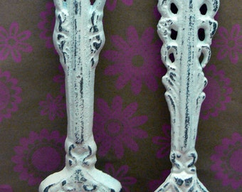 Fork Spoon Set Wall Decor Shabby Chic Off White Home Decor Wall Art