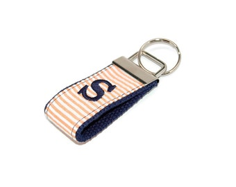 Mini Orange Seersucker and Navy Blue Monogrammed Keychain - Custom Embroidered Initial or 3 Letter Monogram Key fob