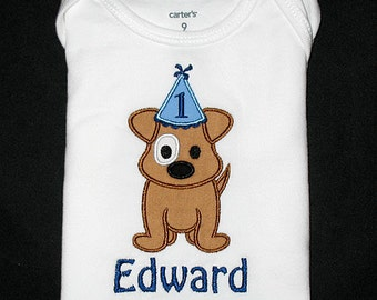 Custom Personalized Applique Birthday Hat PUPPY DOG and NAME Shirt or Bodysuit - Brown, Lt Blue, and Navy Blue