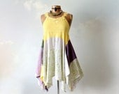 Shabby Boho Top Lagenlook Clothing Country Romantic Layered Scarf Shirt Gypsy Clothes Bohemian Women Upcycled Tank Stevie Nicks M 'MONICA'