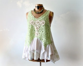 Mint Green Romantic Top Battenberg Lace Shabby Country Tank Tattered Clothes Upcycled Clothing Vintage Style Women's Summer Shirt M 'BIANCA'