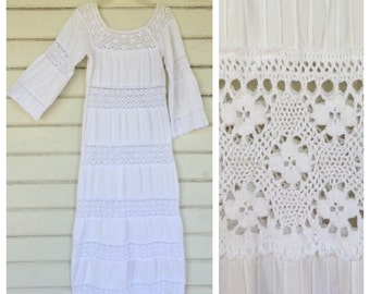 VINTAGE 70s white lace bell sleeve maxi dress BOHEMIAN hippie